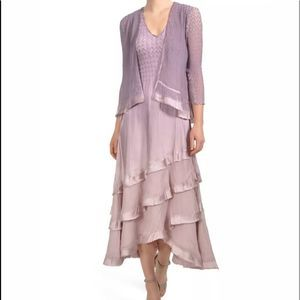 Komarov Tiered Hem Dress and Jacket